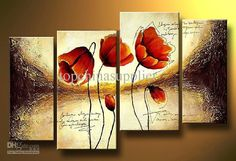 Art Modern Abstract Flower Oil Painting Multiple Piece Canvas Art Sets 4 pieces Still Life Painting