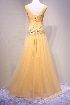 Yellow Tulle Sequins V-neck Applique Long Prom Dress a7f75a9ee120