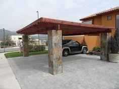 Design element: concrete columns faced with stone veneer. Building A Carport, Carport Plans, Pergola Carport, Backyard Gazebo, Metal Barn Homes, Metal Building Homes, Pole Barn Homes, Carport Designs, Garage Design