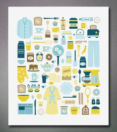 Graphic blue and yellow print of everything breakfast! By Emily Dumas