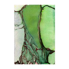 Green abstract watercolor art print, topography, map inspired, Blood Delta