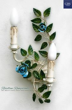Lampadari, lampade, applique, lanterne in ferro battuto. GBS Tole Floral Lamps, hand-made in Florence since Made in Tuscany Wall Sconce Lighting, Wall Sconces, Florence, Decor Crafts, Diy Crafts, Diy Bedroom Decor, Wall Decor, Climbing Roses, Interior Lighting