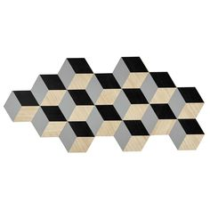 ORIGAMIX wooden wall decoration in grey / black 57 x 122cm