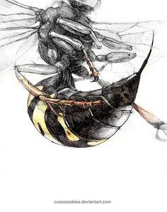 Cicada Killer Tattoo Sketches, Art Sketches, Art Drawings, Cute Animal Drawings, Animal Sketches, Insect Art, Wasp Insect, Graffiti Doodles, Bee Illustration
