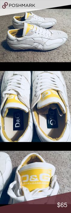 "NWOT MENS Dolce & Gabbana white and yellow shoes. Selling my size 7.5 (men's) D&G shoes, although they fit more like an 8,I bought them a few years ago. They are constructed out of white leather and suede accents. They are NWOT, I never worn them, except around the house to see how they fit. Please see photos; I'm more than happy to take more upon request as well as asking any questions. Measurements: Length from heel to toe: 10.5 Width at its widest: 3.5"" Dolce & Gabbana Shoes Sneakers"