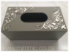 Pewter Tissue Box by Yvonne Botha from Mimmic Gallery and Studio. Stencil and painted tissue box available from www.mimmic.co.za