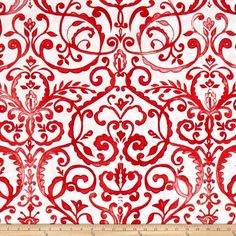 Merry Mistletoe Scrollwork Red from @fabricdotcom  From Dena Designs for Free Spirit Fabrics, this cotton print collection features bright and whimsical Christmas prints. Colors include red and white.