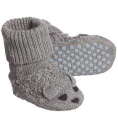 Stella McCartney Kids Baby Grey Cotton & Cashmere 'Flopsey' Bootees  at Childrensalon.com
