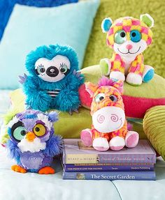 Kids willlove to cuddle and play with this adorable Wild and Wonky Colorful Plush character. It has 2 sparkling eyes and brightly colored soft plush fur.