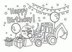 Happy Birthday Cousin coloring page for kids, holiday ...