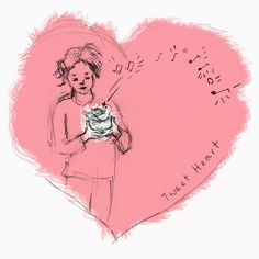 Tweet Heart pencil on paper inked in computer  2012 Brenna George