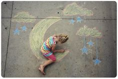 Sidewalk chalk, fun for everybody to get out side and run around. Precaution children could get pretty messy. Could be fun if you draw a game board and have the kids make up a game everybody can play Picture Poses, Picture Ideas, Photo Ideas, Chalk Photos, Chalk It Up, Sidewalk Chalk, You Draw, Kids Events, Photography Poses