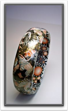 Asian Bangle with Orange/Gold foils