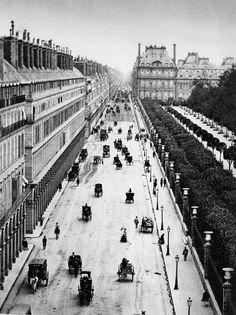 PARIS - La rue de Rivoli vers 1855 par Adolphe Braun (1812-1877).