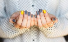 """On all fingers, except index fingers – Barielle """"U Concrete Me"""". On index fingers – Barielle """"Lemondrops""""."""