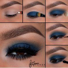 Motives® Khol Eyeliner - Angel - Makeup and Skincare - Make Up Makeup Looks For Brown Eyes, Blue Eye Makeup, Eye Makeup Tips, Smokey Eye Makeup, Eyeshadow Makeup, Makeup Ideas, Makeup Tutorials, Blue Eyeshadow For Brown Eyes, Navy Blue Makeup