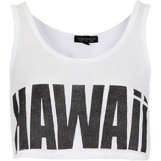 TOPSHOP Hawaii Crop Vest (100 VEF) ❤ liked on Polyvore featuring tops, shirts, crop tops, tanks, white, white crop top, cotton vest, white vest, white tank crop top and white shirt