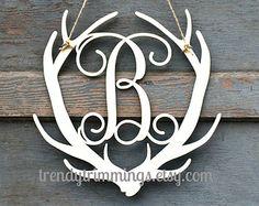 Deer Antler Monogram Holiday Trimmings™ Wooden by TrendyTrimmings Deer Decor, Rustic Decor, Wooden Monogram, Wooden Letters, Antler Art, Deer Antlers, Deer Heads, Art Textile, Oh Deer