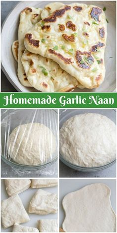 How to Make Naan Naan is traditionally baked in a tandoor oven. Luckily, you can achieve similar results by cooking the naan dough in a hot cast iron skillet. Recipes With Naan Bread, Easy Cake Recipes, Easy Dinner Recipes, Easy Meals, Baking Recipes, Dinner Ideas, Garlic Naan Bread Recipe Easy, Garlic Bread, Stuffed Bread Recipes