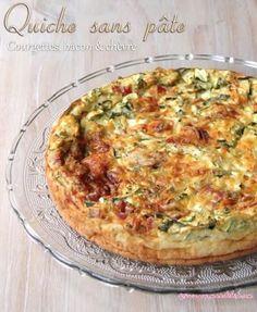 Quiche sans pâte aux courgettes, bacon et chèvre: http://www.gourmandelise.com/post/2011/09/quiche-sans-pate-aux-courgettes-bacon-chevre.aspx