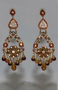 Ravissantes maxi boucles d'oreilles 9,5 cm ocre et or