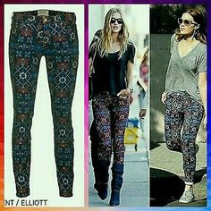 nwt CURRENT ELLIOTT The ANKLE SKINNY Low Rise Printed Jeans MIDNIGHT TAPESTRY 30
