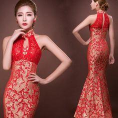 Halter dentelle backless queue de poisson robes sans manches rouge mariée traditionnelle chinoise oriental robes longues traditionnelle cheongsam robe dans cheongsams de Nouveauté et une utilisation particulière sur AliExpress.com | Alibaba Group