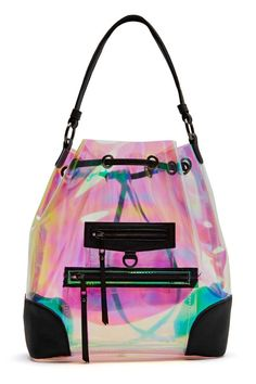 So Psyched Backpack - Bags + Backpacks Holographic Fashion, Holographic Bag, Mini Mochila, Transparent Bag, Backpack Purse, Backpack Handbags, Drawstring Backpack, Pastel Backpack, Puppy Backpack