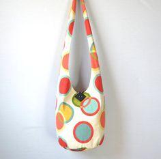 Geometric Circles Hobo Bag Sling Bag Large Modern by 2LeftHandz, $32.00