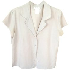 Pre-owned Agnes B. Khaki Top (180 BRL) ❤ liked on Polyvore featuring tops, blouses, shirts, t-shirts, white shirt, shirt blouse, shirt top, white shirt blouse and khaki top