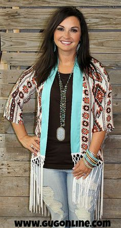 The Coyote Cardigan in Aztec and Turquoise with Fringe Trim