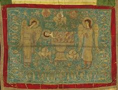 Aer, veil embroidered with gold thread, a liturgical article used to cover sacred vessels on an altar. The Melismos, a symbolic representation of the Holy Eucharist, is portrayed on it with the Child Jesus on a paten below an asteriskos, a star-shaped frame surmounted by a cross, and flanked by adoring angels, seraphim and flowers. Second half of the 16th c. 0.60x0.68 m.