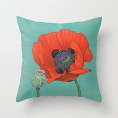 Red Poppy and Pod in Teal Throw Pillow by Kate Halpin  - $20.00