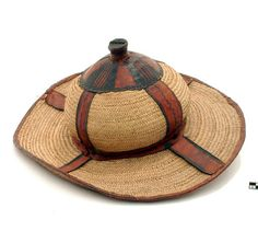 Africa | Leather and straw hat from the north of Nigeria | 20th century