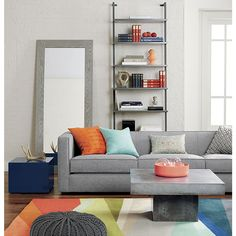 stairway grey wall mounted bookcase | CB2