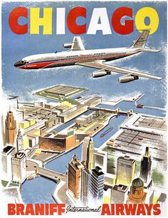 Chicago Airline Travel Poster, Circa 1950s.