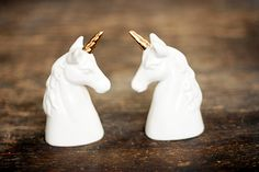 Vintage White Unicorn Salt & Pepper Shakers / by BambiApparel, $25.00