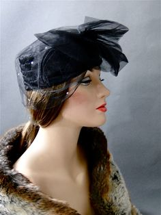 Vintage Hat Black Lace // Large Tulle Bow and Veil with Rhinestones Special Occasion / Womens Accessories Fashion by SueEllensFlair on Etsy https://www.etsy.com/listing/250022061/vintage-hat-black-lace-large-tulle-bow