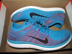 Nike Free Flyknit 4.0 Mens Running Shoes 11 Blue Lagoon Crimson Black 631053 403…