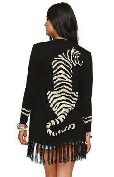 Lira Tigers Fringe Drape Sweater #pacsun