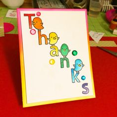 Lawn Fawn thank you card, Quinn's Capitals, Quinn's ABCs, and feathered friends.