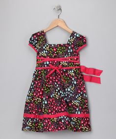 Take a look at this Red Floral Square Neck Dress - Girls by Stock the Closet: Girls' Apparel on #zulily today!