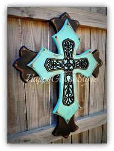 Wall CROSS - Wood Cross - Large - Antiqued Black and Turquoise with large black Iron Cross Wooden Cross Crafts, Cork Crafts, Mosaic Crosses, Wood Crosses, Crosses Decor, Cross Wall Decor, Cross Art, Star Quilt Patterns, Diy Canvas