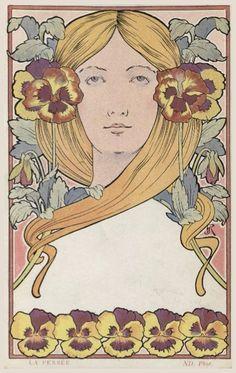 """songesoleil:  Vintage post card. """"La Pensée""""."""