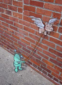 Little and cute street art - The Adventures of Sluggo by David Zinn