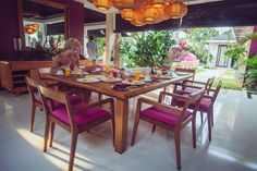 Breakfast at Chandra Bali Villas. You tell your villa attendant what you'd like and when, and they'll have it on the table when you're ready. Dining Table, Outdoor Bathrooms, Outdoor Decor, Outdoor Tables, Table, Indoor, Indoor Outdoor Bathroom, Tropical Living, Home Decor