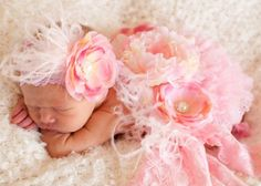 Light Pink & Cream Infant Vintage Flower Headband and lots more cute head bands and tutus for baby girls on girlybaby .com
