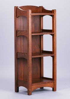 2735. L&JG Stickley magazine stand #45. Unsigned. Refinished. 45″h x 18.5″w x 12.75″d $2500