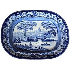 19th Century English Blue and White Transferware Platter