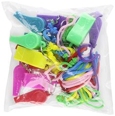 Rhode Island Novelty 12 Neon Plastic Whistle Necklaces On Nylon Braided Cord, 2015 Amazon Top Rated Noisemakers #Toy